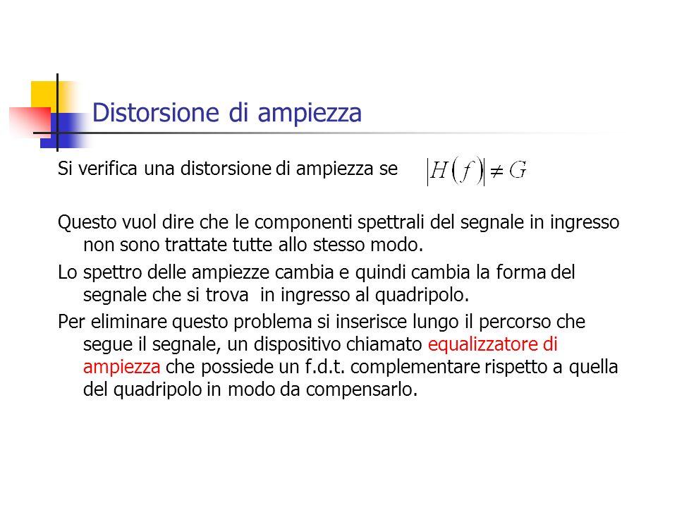 Distorsione di ampiezza Si verifica una distorsione di ampiezza se Questo vuol dire che le componenti spettrali del segnale in ingresso non sono tratt