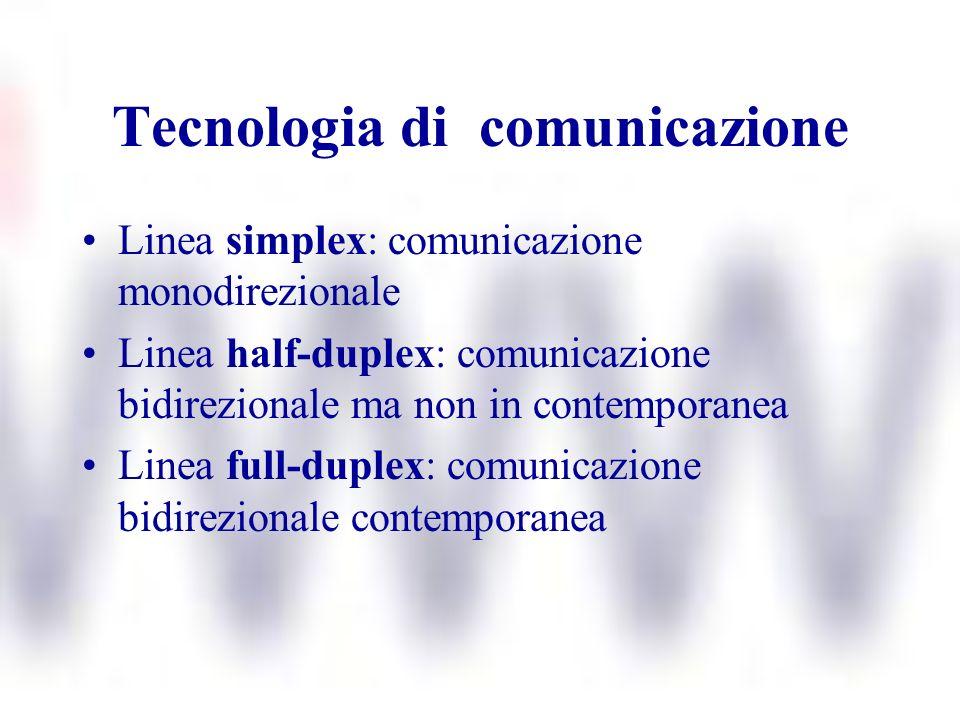 Tecnologia di comunicazione Linea simplex: comunicazione monodirezionale Linea half-duplex: comunicazione bidirezionale ma non in contemporanea Linea