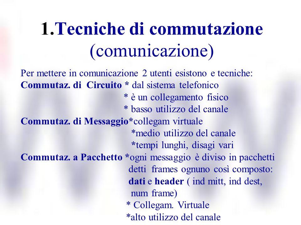 1.Tecniche di commutazione (comunicazione) Per mettere in comunicazione 2 utenti esistono e tecniche: Commutaz. di Circuito * dal sistema telefonico *