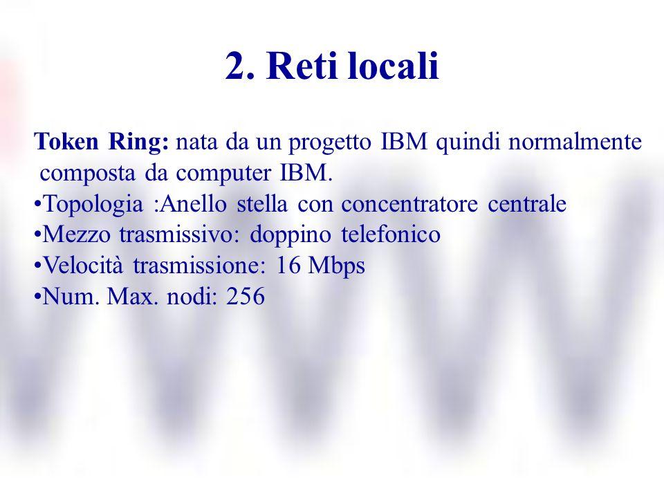 2. Reti locali Token Ring: nata da un progetto IBM quindi normalmente composta da computer IBM. Topologia :Anello stella con concentratore centrale Me