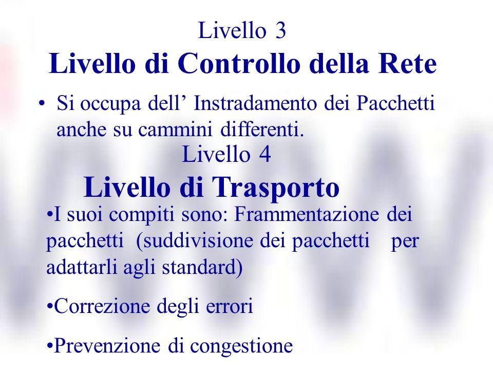 Livello 3 Livello di Controllo della Rete Si occupa dell Instradamento dei Pacchetti anche su cammini differenti. Livello 4 Livello di Trasporto I suo