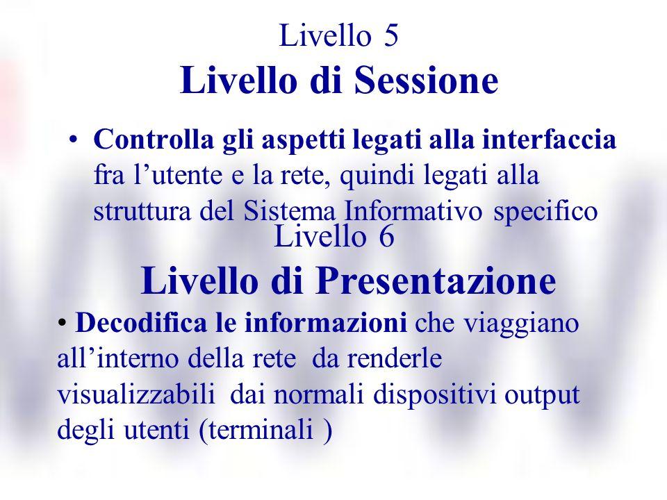 Livello 5 Livello di Sessione Controlla gli aspetti legati alla interfaccia fra lutente e la rete, quindi legati alla struttura del Sistema Informativ
