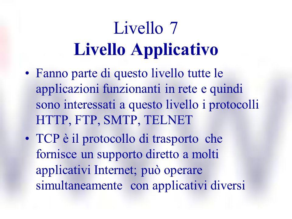Livello 7 Livello Applicativo Fanno parte di questo livello tutte le applicazioni funzionanti in rete e quindi sono interessati a questo livello i pro