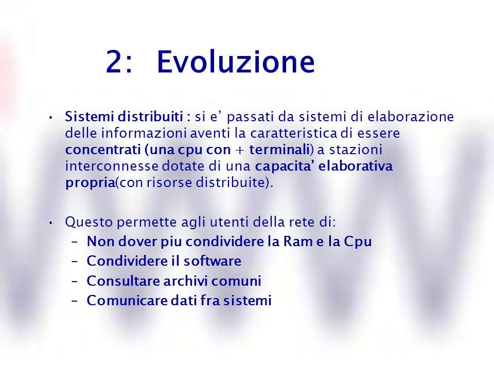 3: Evoluzione Modello client / server Fine 70: gia dalla fine del 70 le reti di computer si basano sul modello Client- Server in cui i vari utenti ( Client) richiedono attraverso il programma (Client) certi servizi al server come laccesso ai dati, la stampa.., ad un programma server che li fornisce.
