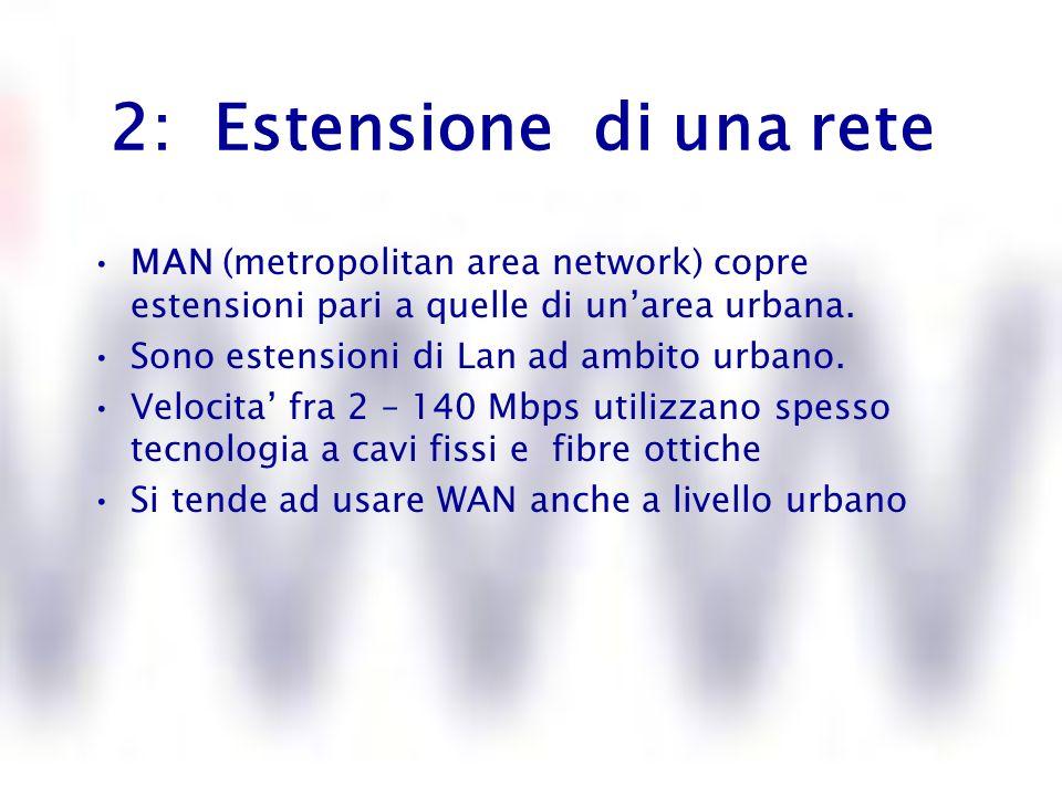 3: Estensione di una rete WAN (wide area network) estensioni planetarie Presentano il limite della velocita perche utilizzano infrastrutture preesistenti (quelle del servizio telefonico) E necessario un sistema di protezione piu efficace contro accessi non autorizzati Utilizzano i cavi fisici, i satelliti e i ponti radio Meno costosa
