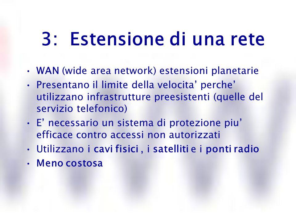 3: Estensione di una rete WAN (wide area network) estensioni planetarie Presentano il limite della velocita perche utilizzano infrastrutture preesiste
