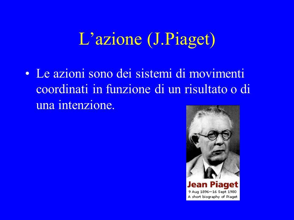 Lazione (J.Piaget) Le azioni sono dei sistemi di movimenti coordinati in funzione di un risultato o di una intenzione.