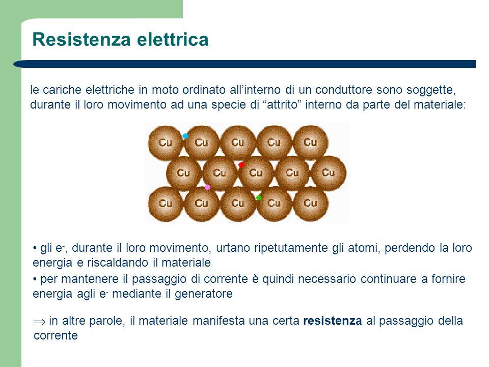 Resistenza elettrica le cariche elettriche in moto ordinato allinterno di un conduttore sono soggette, durante il loro movimento ad una specie di attr