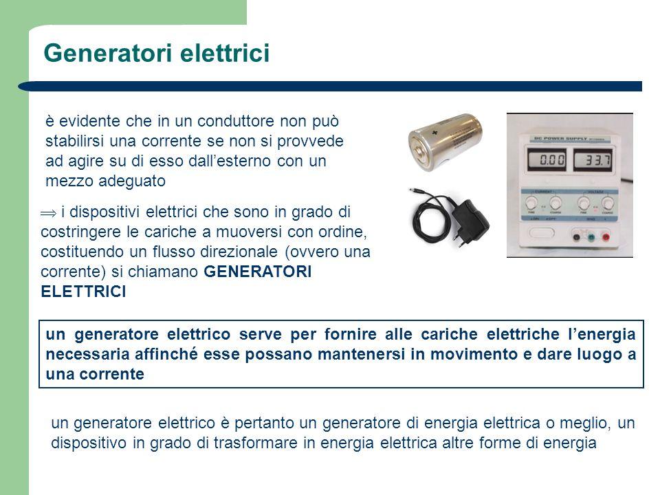 Generatori elettrici è evidente che in un conduttore non può stabilirsi una corrente se non si provvede ad agire su di esso dallesterno con un mezzo a
