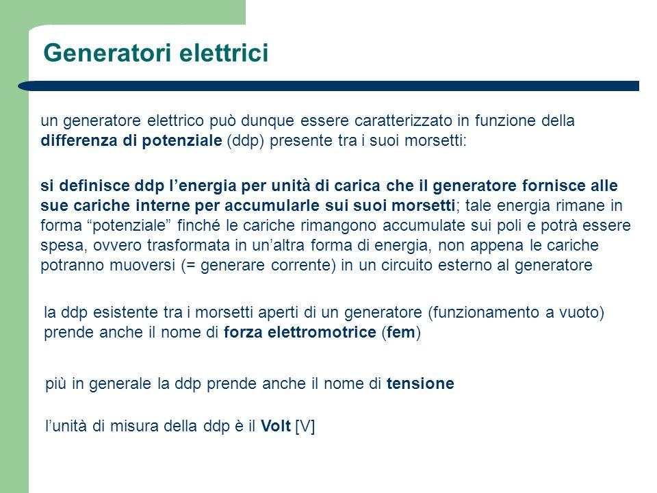 Generatori elettrici un generatore elettrico può dunque essere caratterizzato in funzione della differenza di potenziale (ddp) presente tra i suoi mor