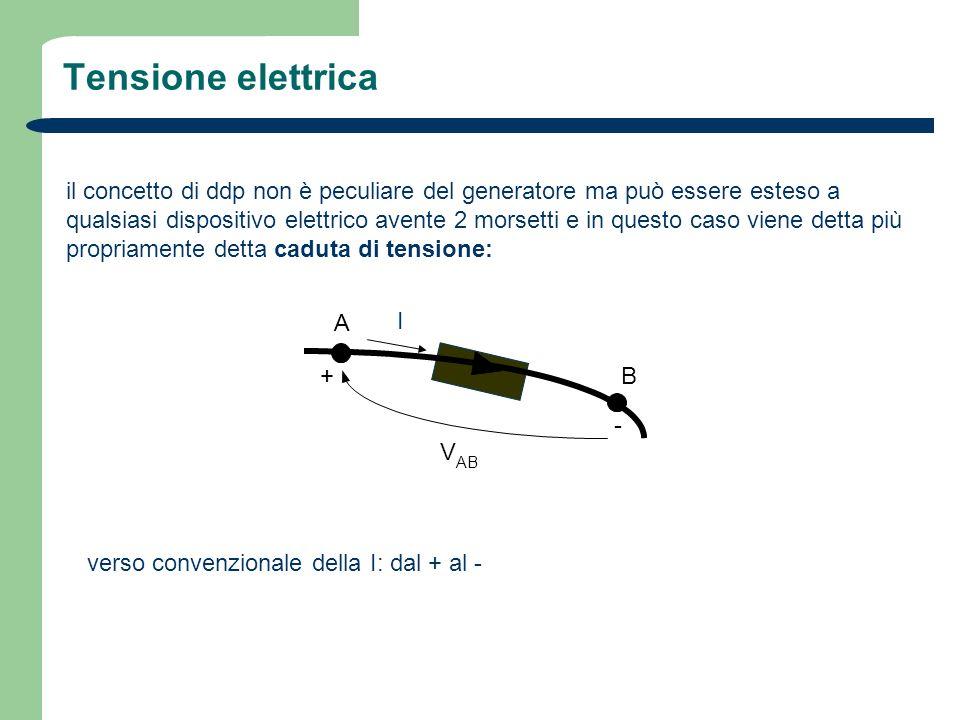 Tensione elettrica il concetto di ddp non è peculiare del generatore ma può essere esteso a qualsiasi dispositivo elettrico avente 2 morsetti e in que