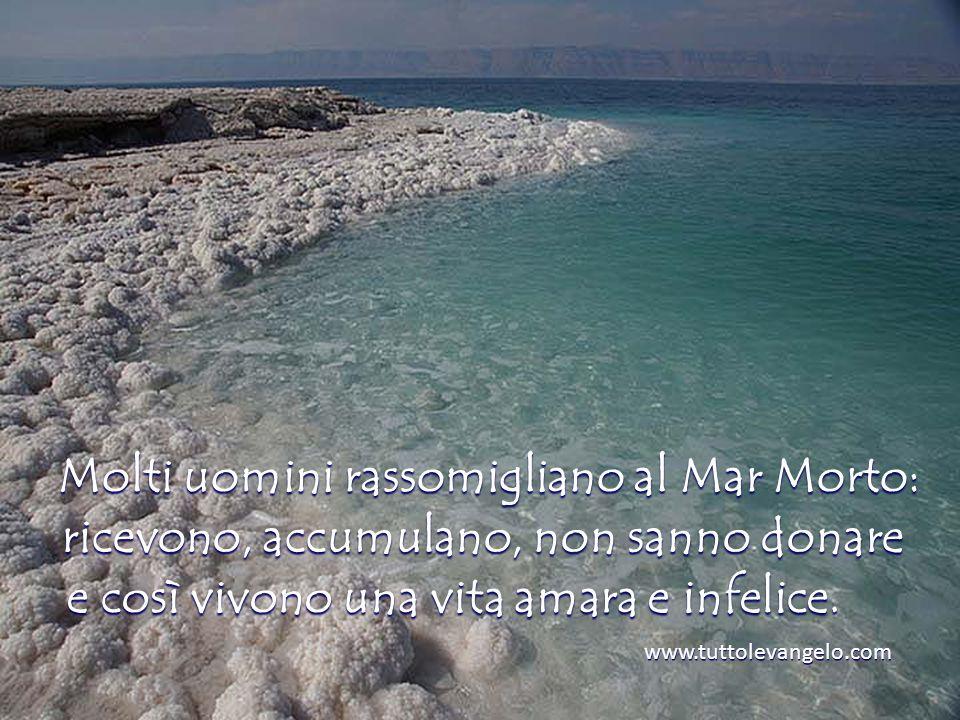 Molti uomini rassomigliano al Mar Morto: ricevono, accumulano, non sanno donare e così vivono una vita amara e infelice.