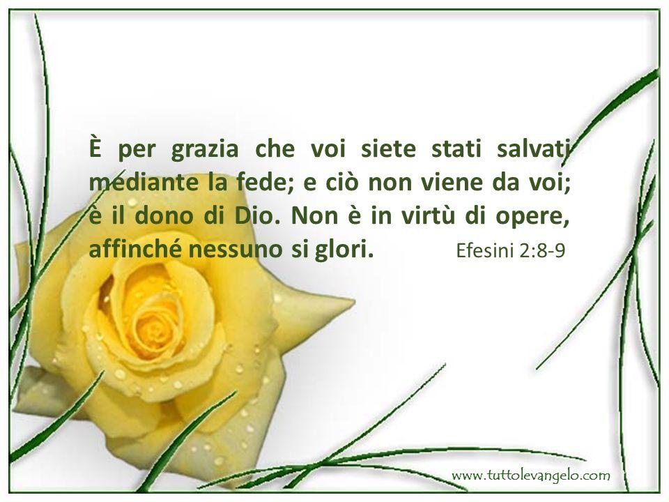 È per grazia che voi siete stati salvati mediante la fede; e ciò non viene da voi; è il dono di Dio. Non è in virtù di opere, affinché nessuno si glor