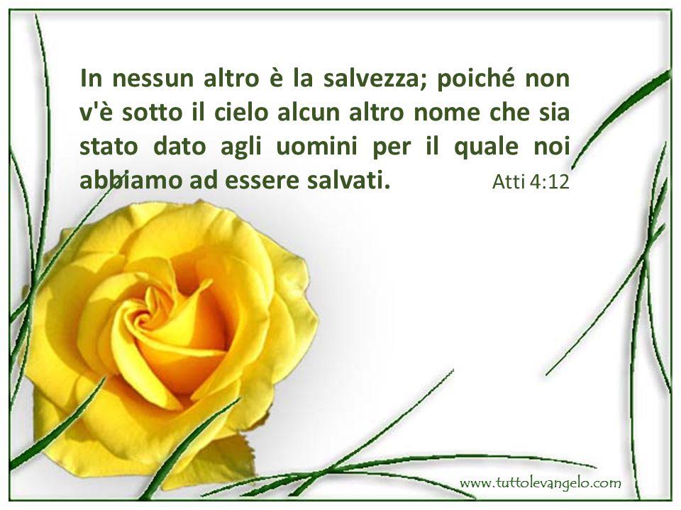 In nessun altro è la salvezza; poiché non v'è sotto il cielo alcun altro nome che sia stato dato agli uomini per il quale noi abbiamo ad essere salvat