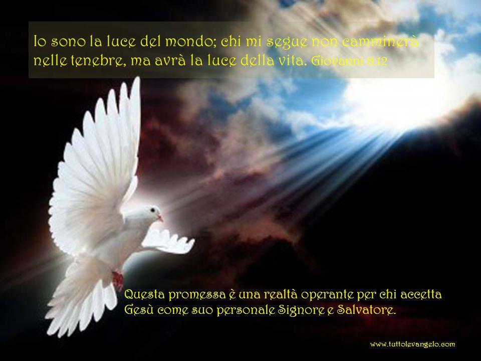 Io sono la luce del mondo; chi mi segue non camminerà nelle tenebre, ma avrà la luce della vita. Giovanni 8:12 Questa promessa è una realtà operante p