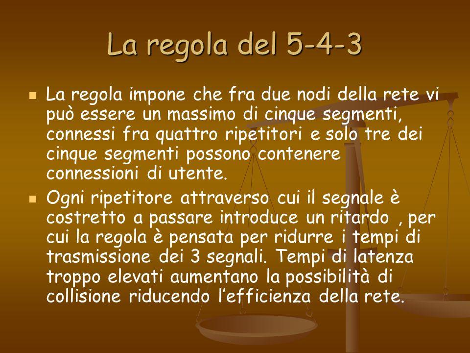 La regola del 5-4-3 La regola impone che fra due nodi della rete vi può essere un massimo di cinque segmenti, connessi fra quattro ripetitori e solo t