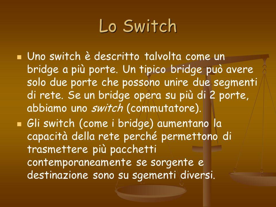Lo Switch Uno switch è descritto talvolta come un bridge a più porte. Un tipico bridge può avere solo due porte che possono unire due segmenti di rete