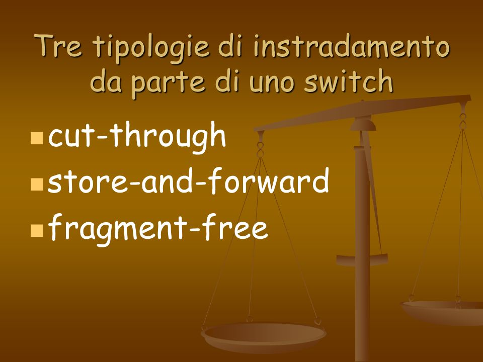Tre tipologie di instradamento da parte di uno switch cut-through store-and-forward fragment-free