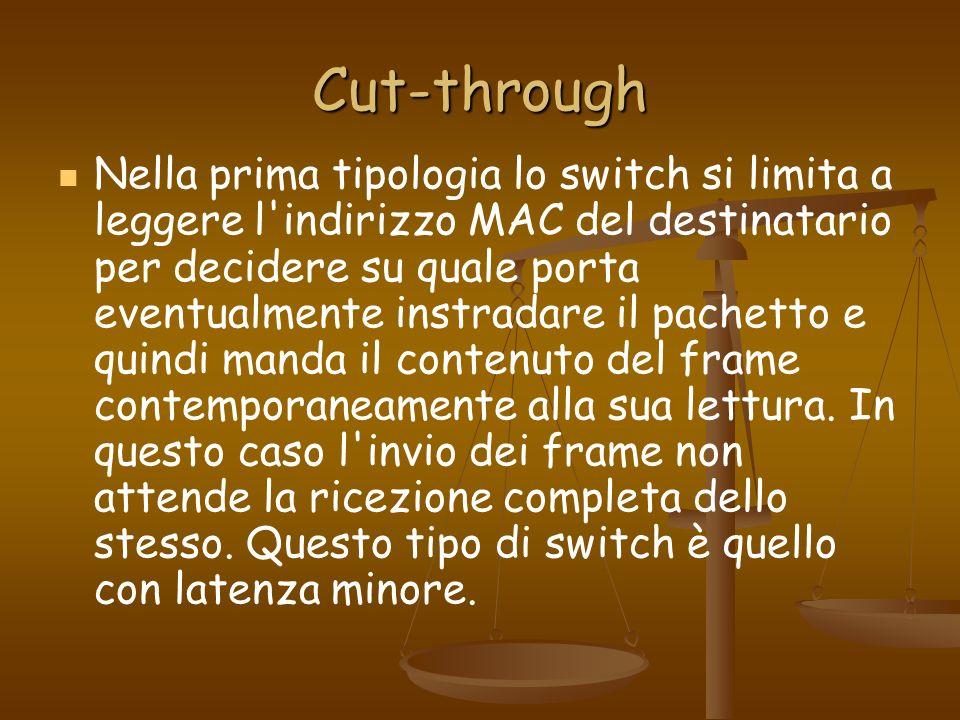 Cut-through Nella prima tipologia lo switch si limita a leggere l'indirizzo MAC del destinatario per decidere su quale porta eventualmente instradare