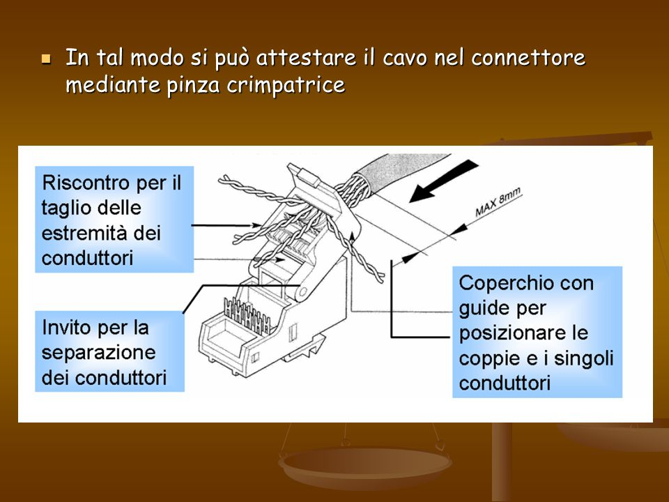 In tal modo si può attestare il cavo nel connettore mediante pinza crimpatrice In tal modo si può attestare il cavo nel connettore mediante pinza crim
