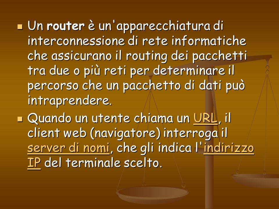 Un router è un'apparecchiatura di interconnessione di rete informatiche che assicurano il routing dei pacchetti tra due o più reti per determinare il