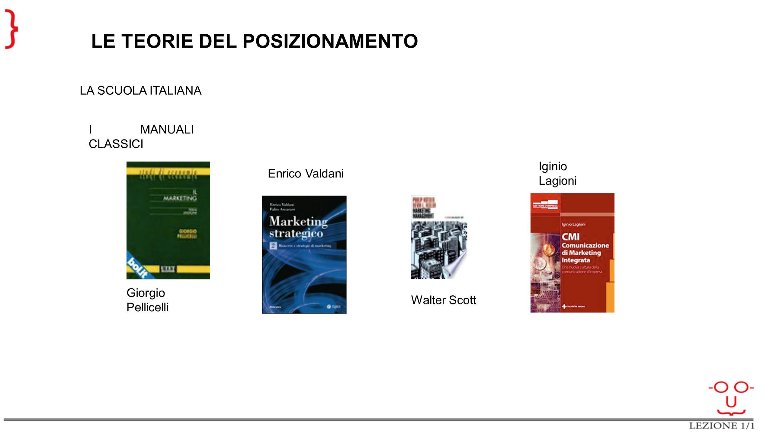 LE TEORIE DEL POSIZIONAMENTO LA SCUOLA ITALIANA I MANUALI CLASSICI Giorgio Pellicelli Enrico Valdani Iginio Lagioni Walter Scott