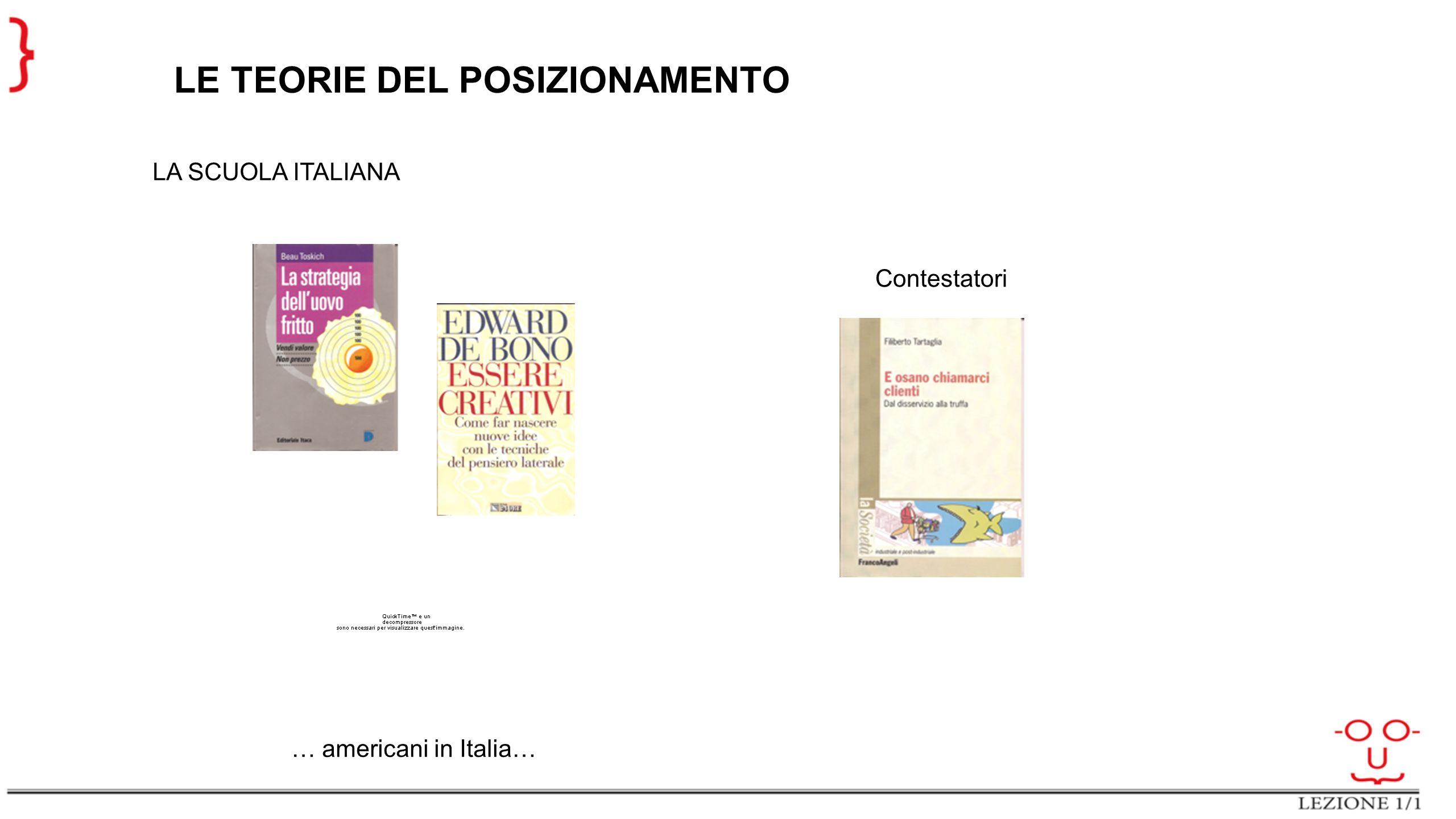 LE TEORIE DEL POSIZIONAMENTO LA SCUOLA ITALIANA … americani in Italia… Contestatori