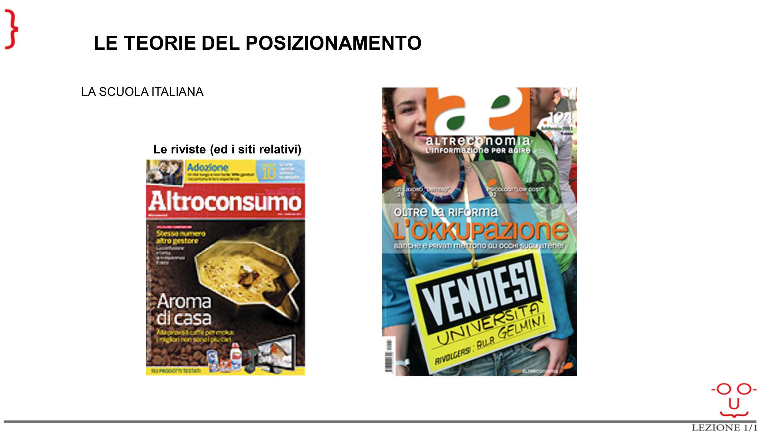 LE TEORIE DEL POSIZIONAMENTO LA SCUOLA ITALIANA Le riviste (ed i siti relativi)