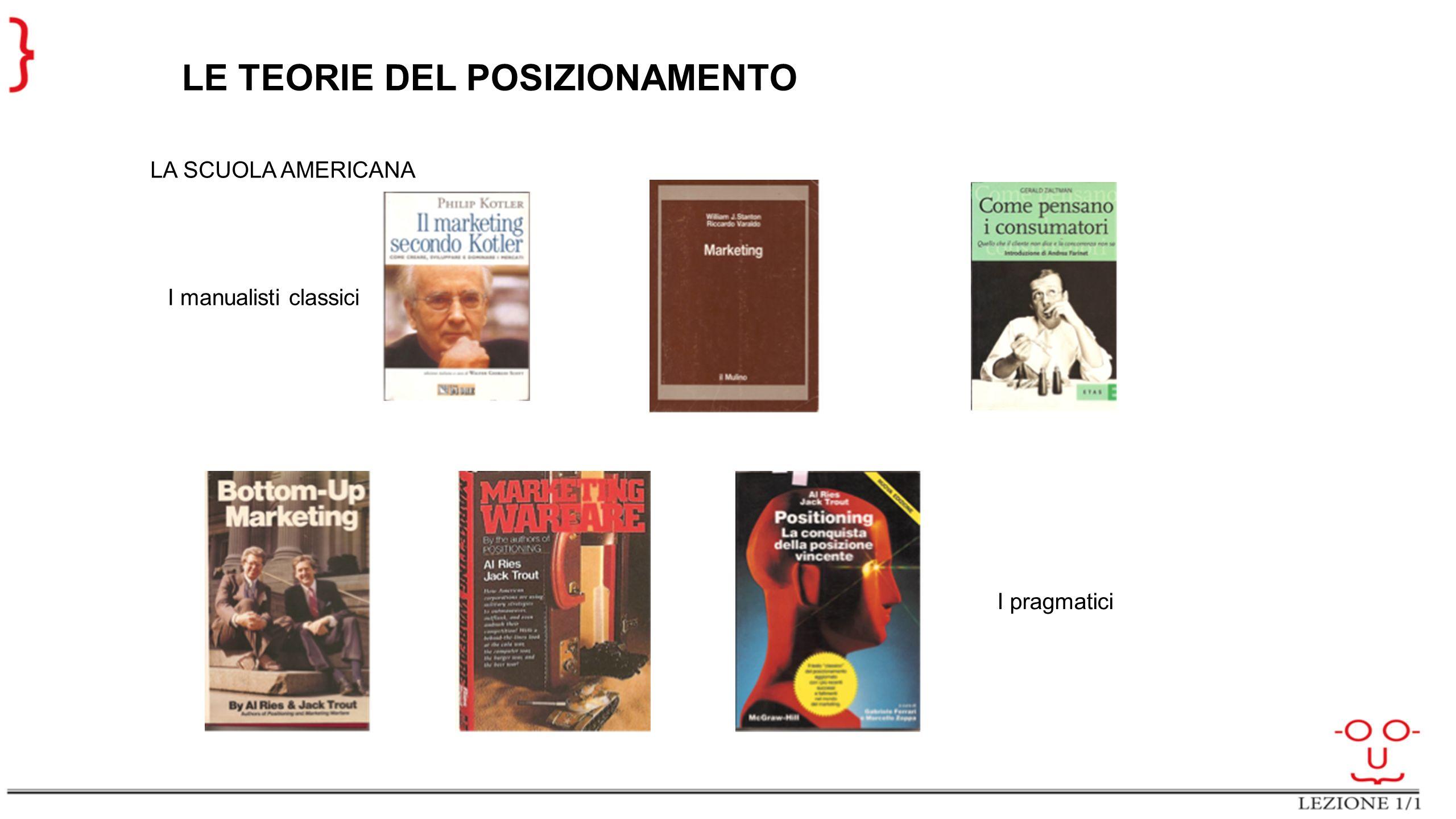 LE TEORIE DEL POSIZIONAMENTO LA SCUOLA AMERICANA I manualisti classici I pragmatici