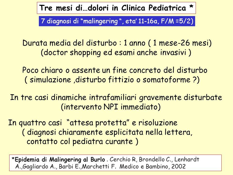 Tre mesi di…dolori in Clinica Pediatrica * *Epidemia di Malingering al Burlo. Cerchio R, Brondello C., Lenhardt A.,Gagliardo A., Barbi E.,Marchetti F.
