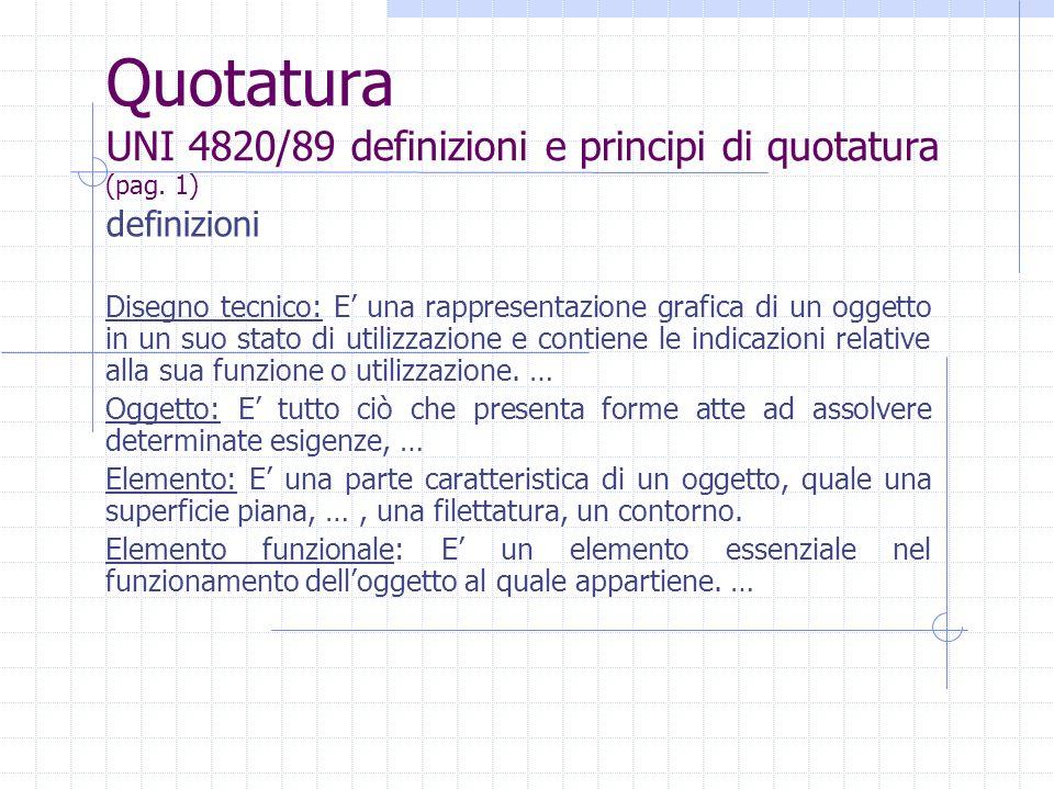 Quotatura UNI 4820/89 definizioni e principi di quotatura (pag.