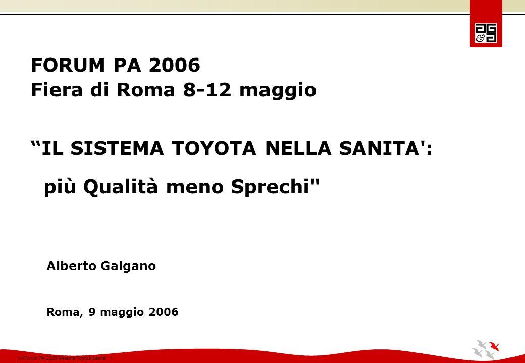 Ul\Forum PA 2006-Sistema Toyota Sanità 142 Mercoledì ore 8,00-16,00 Allinizio della giornata sono stati presentati ai partecipanti i commenti dello sponsor.