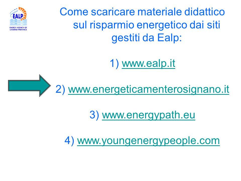 Come scaricare materiale didattico sul risparmio energetico dai siti gestiti da Ealp: 1) www.ealp.itwww.ealp.it 2) www.energeticamenterosignano.itwww.