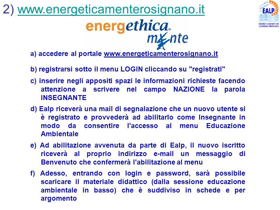 2) www.energeticamenterosignano.itwww.energeticamenterosignano.it a) accedere al portale www.energeticamenterosignano.it b) registrarsi sotto il menu