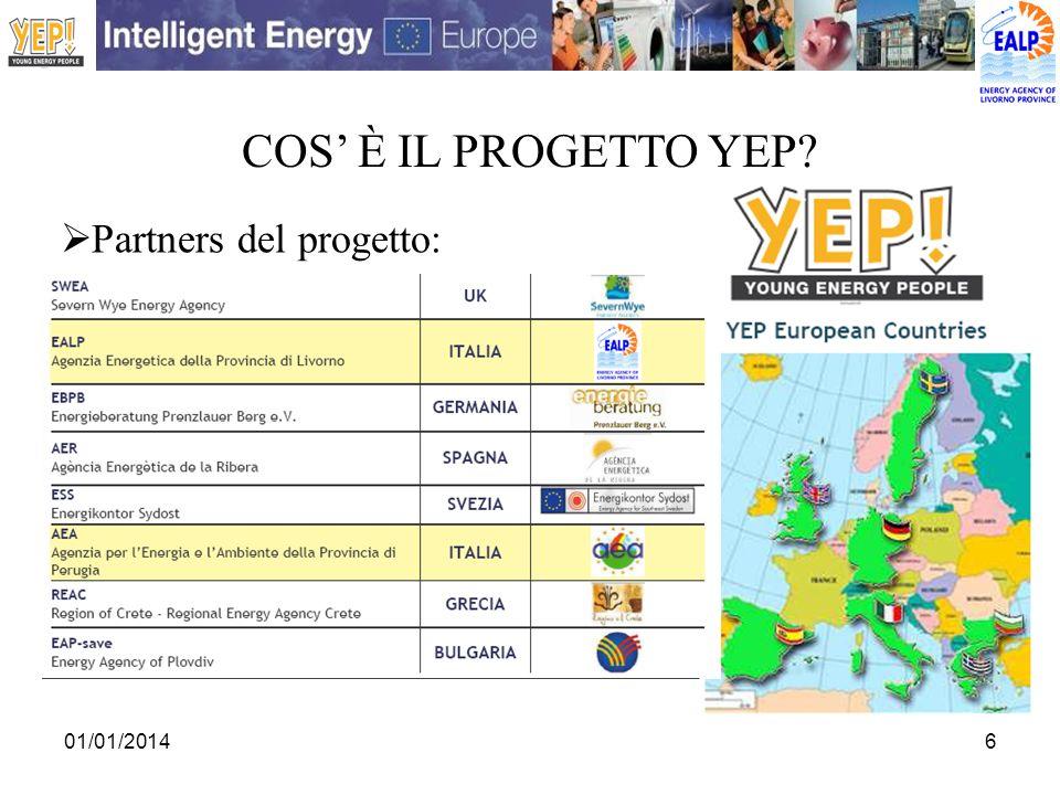 01/01/20146 COS È IL PROGETTO YEP? Partners del progetto: