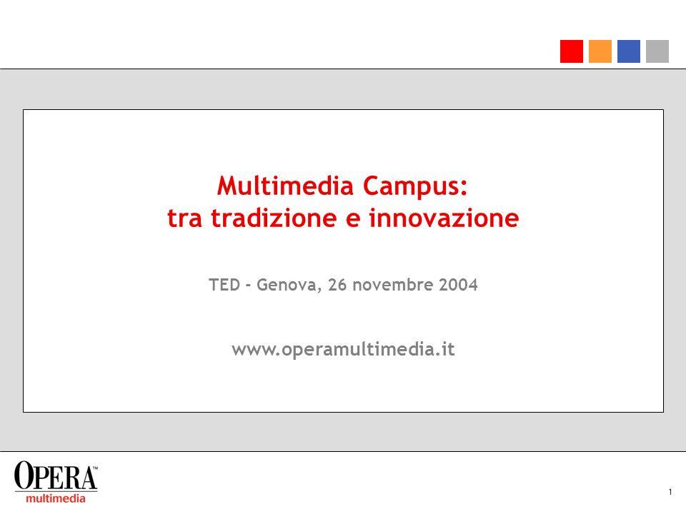 1 Multimedia Campus: tra tradizione e innovazione TED - Genova, 26 novembre 2004 www.operamultimedia.it