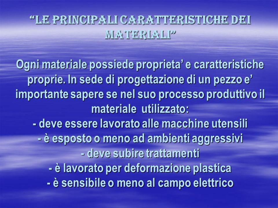 Le principali caratteristiche dei materiali Ogni materiale possiede proprieta e caratteristiche proprie. In sede di progettazione di un pezzo e import