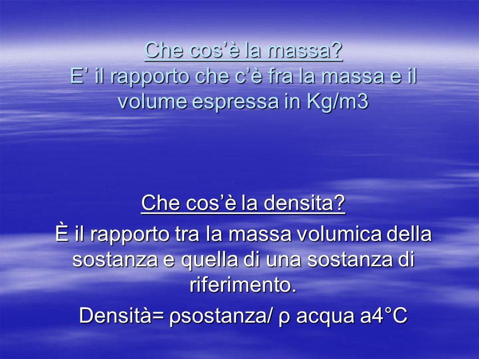 Che cosè la massa? E il rapporto che cè fra la massa e il volume espressa in Kg/m3 Che cosè la densita? È il rapporto tra la massa volumica della sost
