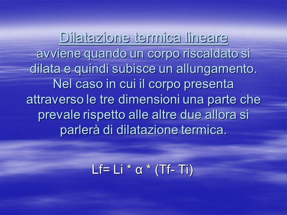 Dilatazione termica lineare avviene quando un corpo riscaldato si dilata e quindi subisce un allungamento. Nel caso in cui il corpo presenta attravers