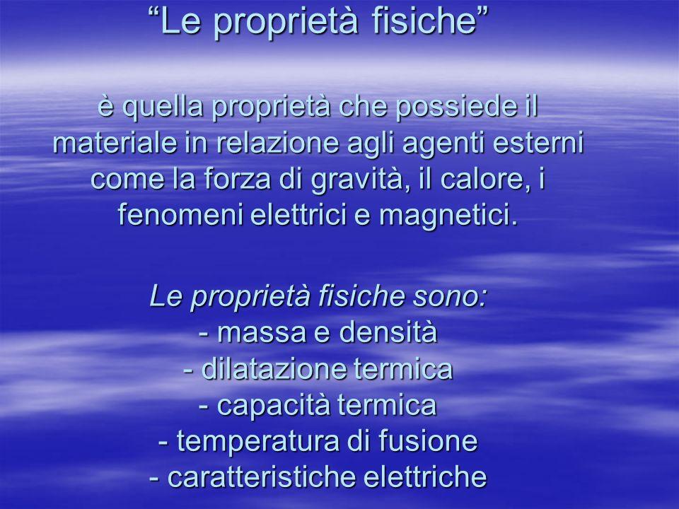 Le proprietà fisiche è quella proprietà che possiede il materiale in relazione agli agenti esterni come la forza di gravità, il calore, i fenomeni ele