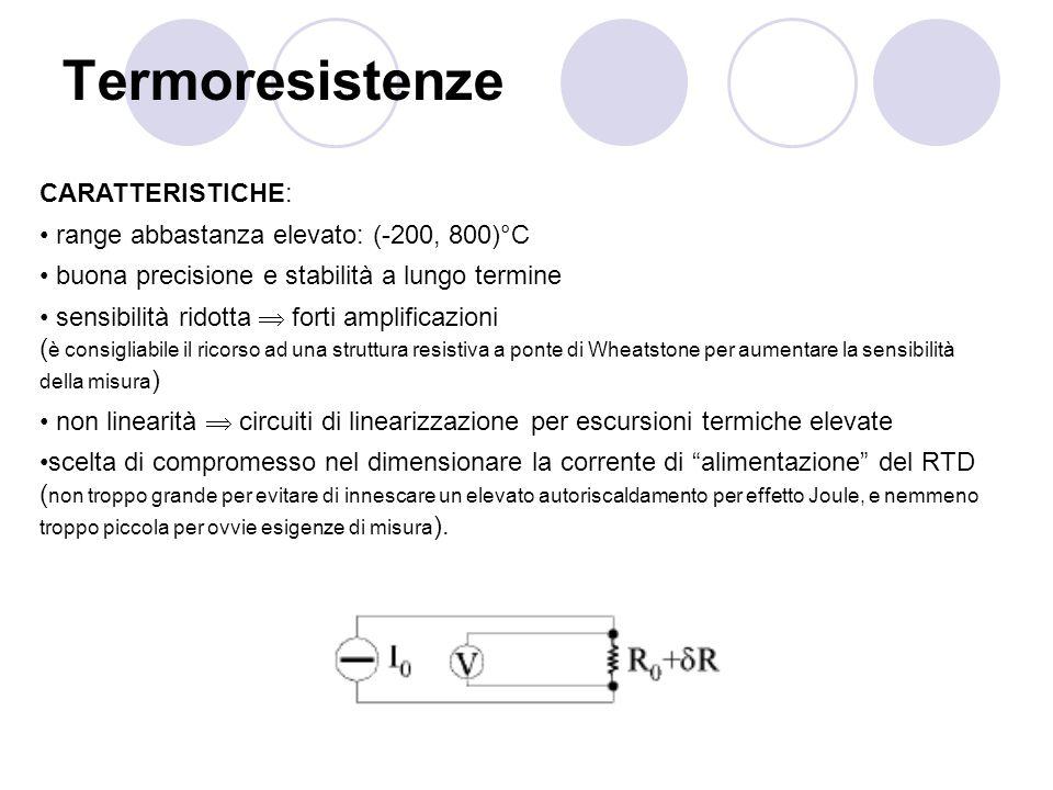 Termoresistenze CARATTERISTICHE: range abbastanza elevato: (-200, 800)°C buona precisione e stabilità a lungo termine sensibilità ridotta forti amplif