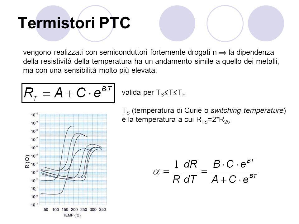 Termistori PTC vengono realizzati con semiconduttori fortemente drogati n la dipendenza della resistività della temperatura ha un andamento simile a q