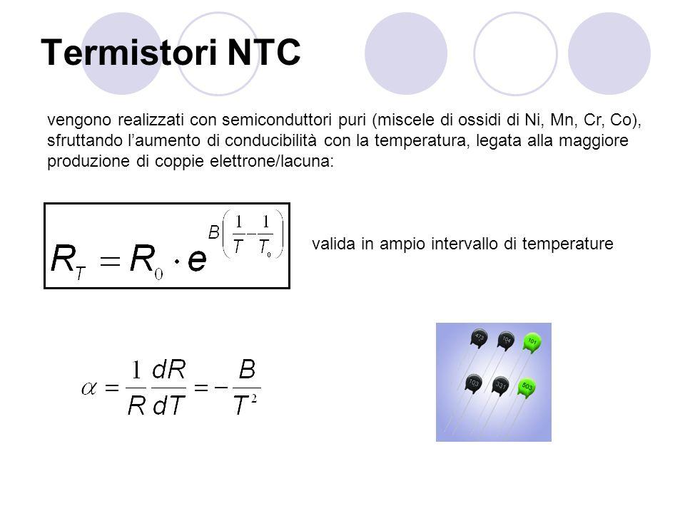 Termistori NTC vengono realizzati con semiconduttori puri (miscele di ossidi di Ni, Mn, Cr, Co), sfruttando laumento di conducibilità con la temperatu