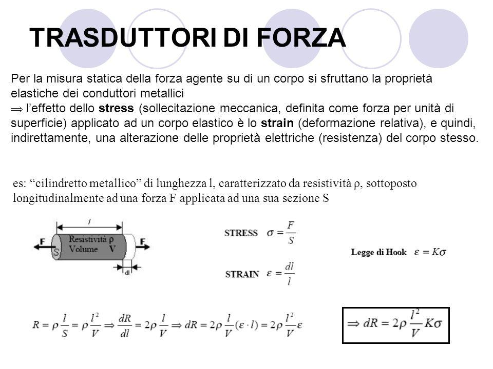 Per la misura statica della forza agente su di un corpo si sfruttano la proprietà elastiche dei conduttori metallici leffetto dello stress (sollecitaz
