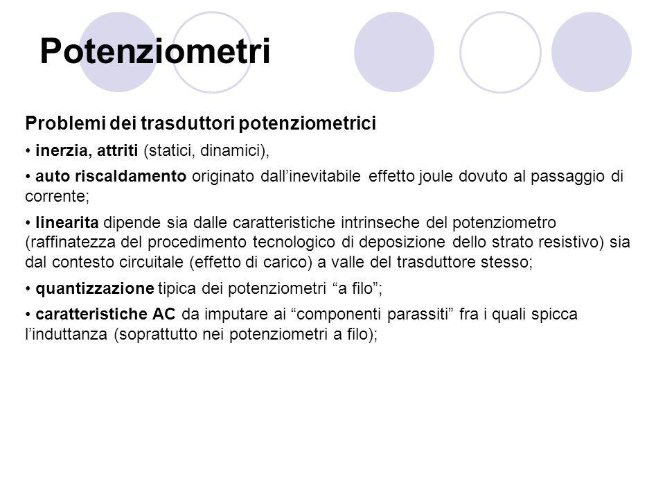Potenziometri Problemi dei trasduttori potenziometrici inerzia, attriti (statici, dinamici), auto riscaldamento originato dallinevitabile effetto joul