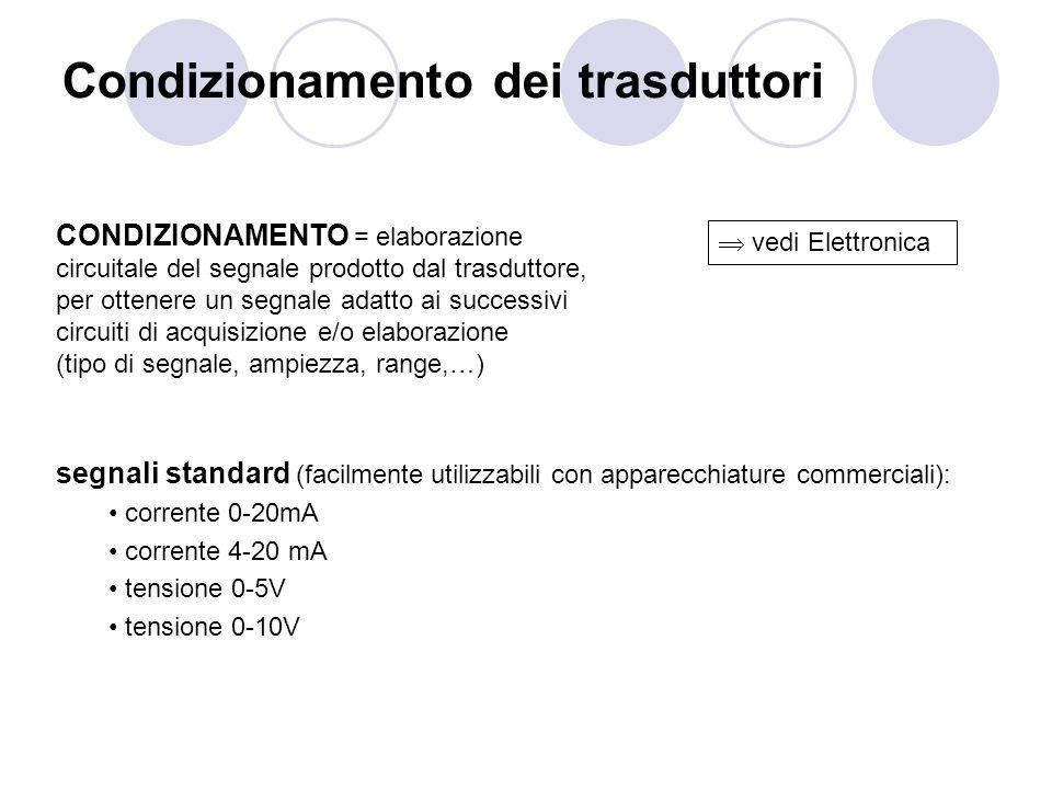 Condizionamento dei trasduttori segnali standard (facilmente utilizzabili con apparecchiature commerciali): corrente 0-20mA corrente 4-20 mA tensione