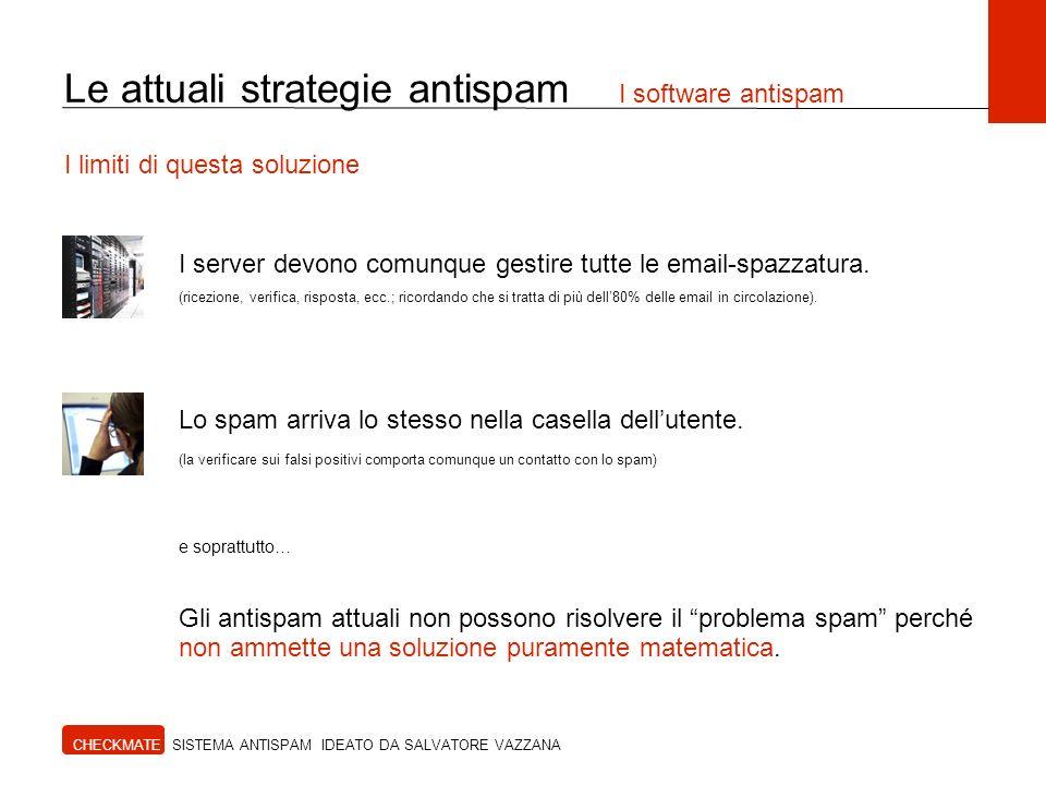 CHECKMATE SISTEMA ANTISPAM IDEATO DA SALVATORE VAZZANA I limiti di questa soluzione Le attuali strategie antispam I software antispam I server devono comunque gestire tutte le email-spazzatura.