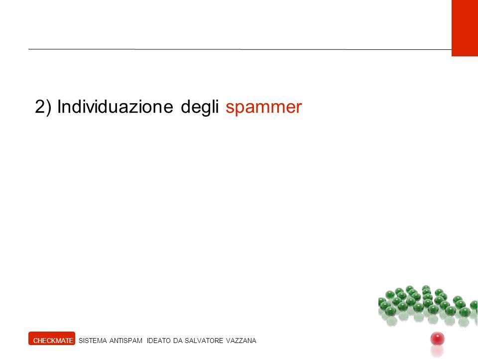 2) Individuazione degli spammer CHECKMATE SISTEMA ANTISPAM IDEATO DA SALVATORE VAZZANA