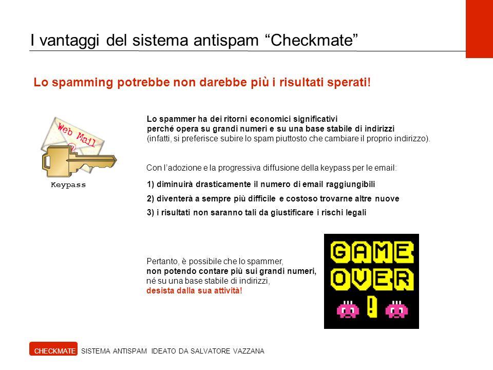 CHECKMATE SISTEMA ANTISPAM IDEATO DA SALVATORE VAZZANA I vantaggi del sistema antispam Checkmate Lo spamming potrebbe non darebbe più i risultati sperati.