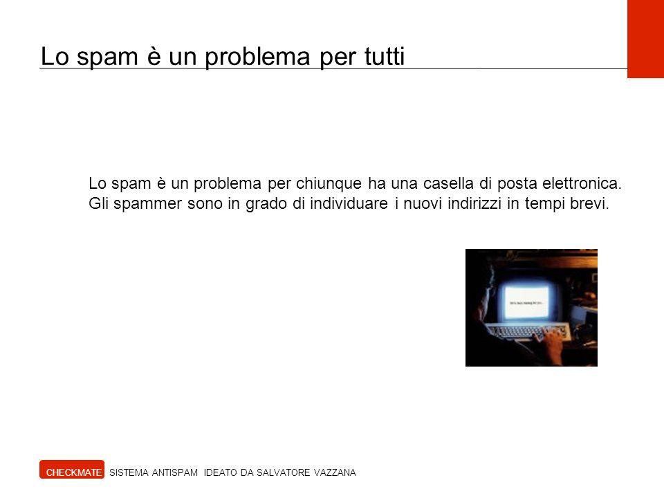 Lo spam è un problema per tutti CHECKMATE SISTEMA ANTISPAM IDEATO DA SALVATORE VAZZANA Lo spam non è solo un fastidio ma è un vero pericolo per lutente, perché in molti casi serve a carpire i suoi dati personali per fini illeciti (fishing, spyware, virus)